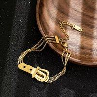 Moda in acciaio inox cintura forma cinturino fascino oro braccialetto donna gioielli regalo punk a strati braccialetti braccialetti di alta qualità