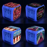 New Squid game 3D Cartoon Digital Clocks Color Change Night Light Alarm Clock Student LED Creative Child Gift DHL