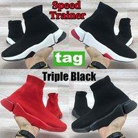 Le più recenti scarpe casual da allenatore di velocità Tripla Black Red Bianco Bianco Verde Partito Stretch Stretch Trying Uomo Donna Piattaforma Sneakers Moda Scarpa calza