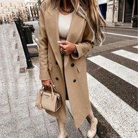 Women's Wool & Blends Women Faux Coat Ladies Overcoat 2021 Autumn Winter Long Outwear Double Breasted Tweed Collar Loose Tops