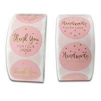 500pcs / rolo Rosa Obrigado adesivos Handmade caixa de presente embalagem adesivos para rótulos de selo de cookie de doces para scrapbooking natal