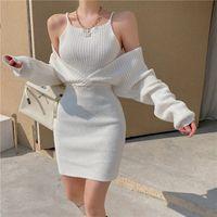 Örme Elbise kadın Sahte İki Adet Siyah / Beyaz Uzun Kollu Kısa Etek