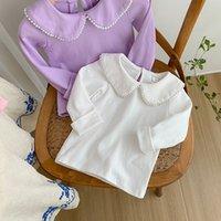 Çocuklar T-Shirts Sade Tops Ile İnciler Ile Beraberlik Kızlar Bouitique Giyim 1-5T Çocuk Pamuk Uzun Kollu Tees Özel Teklif