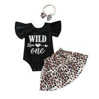 Clothing Sets 2021 0-24M Cute Baby Girl Clothes Set Letter Print Short Sleeve Romper Top+Leopard A-line Skirt+Headband Summer 3pcs