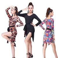 المرحلة ارتداء 2021 ليوبارد مثير اللاتينية الطباعة الرقص اللباس المرأة ازياء السالسا الخامس الرقبة رومبا / سامبا أداء اللياقة
