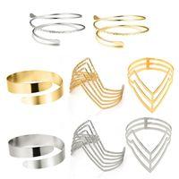 Bangle 4 Pieces Set Arm Bracelet For Women Girls Gold Color Mental Open Upper Simple Adjustable Armlet Armband Set