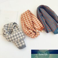 Kids Scarf New Autumn and Winter Color-blocking Plaid Children's Knitted Scarf Warm Woolen Scarf for Boys and Girls