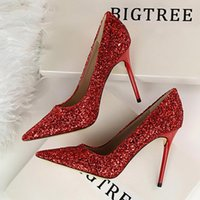 Bigtree chaussures femmes talons hauts strass chaussures chaussures pompes talons femmes bling mariage mariage femme plus grande taille