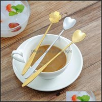 Spoons Flatware Kitchen, Dining Bar Home & Garden304 Stainless Steel Soup Cherry Blossoms Heart Shape Coffee Spoon Stirring Teaspoon Gold We