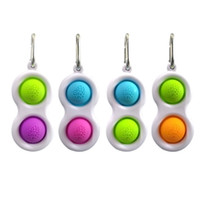 2021 Sensory Fidget Simple Key Ring 2 Balls Push Bubble Keyc...