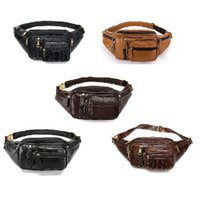 Multi-functional men's bag pocket leather outdoor sports leisure chest one shoulder cross-body crocodile lines
