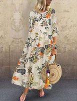 Elbiseler Baskı Yuvarlak Boyun Orta Kollu Salıncak Elbise Uzun Etek İlkbahar ve Yaz 2021 Kadın Elbise Uzun Kollu Tomurcuk İpek Sapanlar Büyük Yards