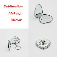 Sublimation Makeup Mirror Metal Blank Mirrors with Keychain for DIY Heat Transfer Printing Christmas Gifts 6 Styles