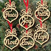 Lettre de Noël Wood Church Coeur Modèle Bubble Ornement Arbre Décorations d'arbre Accueil Festival Ornements Suspending Cadeau Fwe9243