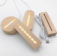 Оформление партии 30 шт. Светодиодный Светодиодный Деревянный USB Кабель Ночной Свет 3D Теплый Белый Держатель Лампа Древесина Круглый Овальный прямоугольник Форма База Sn