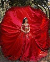Последний дизайн Красное африканское мяч платья свадебные платья с плеча шеи роскошные кружевные аппликации свадебные платья робичка де марок халат де Марие