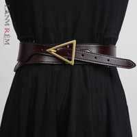 Lanmrem 2021 Leather Belt with Triangular Needle and Thread Pressing Edge All-match Streetwear Belt for Women Fashion 2a3056 Q0625