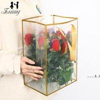 Yeni Çiçekçi Çiçek Paketi Çantası Temizle PVC Çiçek Buket Paketi Çanta Kolu Ile Sevgililer Günü Doğum Günü Günü Çiçek Hediye Paketi Kılıfı EWD545