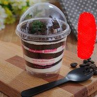 Kunststoff-Eiscreme Cup Klarer Mousse Cup Sägemehl-Tasse mit Dome-Deckel Einweg-Dessert Kuchen-Cups Bowl Party Supplies