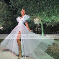 Light Green Prom Dress 2022 Split V Neck Short Sleeves Ruffles Evening Cocktail Gowns for Women Party robe de soirée mariage