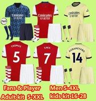 S-4XL Arsen Futbol Forması Hayranları Oyuncu Sürümü Gunners 21 22 Ødegaard Saka Thomas Willian Nicolas Tierney 2021 2022 Futbol Gömlek Erkekler + Çocuk Seti Uzakta Sarı Dördüncü
