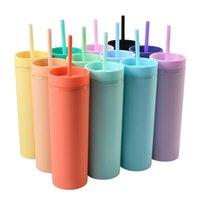 Skinny Double Plastic Plastic Coppa d'acqua smerigliata 16OZ grande capacità pratico tazza di fragore tazza di paglia di colore puro colore moda bambini sippy tazze vendita H32R4GI