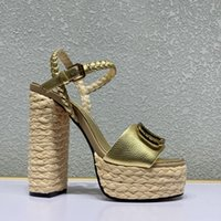 Летние дизайнерские сандалии натуральные кожаные на высоком каблуке 13см каблук каблуки пакет обувь резина твердая не скользящая платформа ежедневно на открытом воздухе лужайки большие женщины