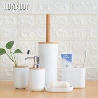 Bath Accessory Set Bathroom Toothbrush Holder Toilet Brush Cup Soap Press Emulsion Dispenser Container Bamboo Accessories