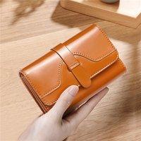 Wallets Oil Wax Women'S Money Bag Hasp Clips Purse Exquisite Solid Color Purses Zipper Clip Buckle Female