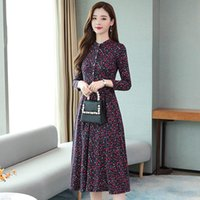 Casual Dresses 2021 Autumn And Winter Dress For Women Long-sleeved Bottoming Plus Velvet Thick Floral Temperament Long K1123