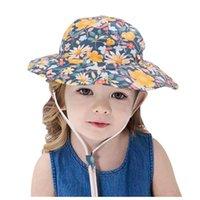 Sombreros de ala ancha Baby Boys Girls Sun Sun Sun Linda Floral Protección Protección Cap Sombrero Playa al aire libre Pescador T7