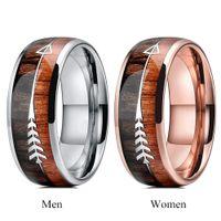 NUEVA pareja anillo hombres mujeres tungsten boda boda madera flechas inlay rosa anillo de oro para pareja compromiso promesa joyería