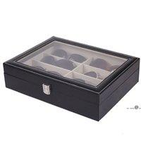 Brillen Sonnenbrille Aufbewahrungsbox mit Fenster Nachahmung Leder Gläser Display Case Storage Organizer Collector 8 Slot FWA4246
