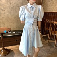 Casual Dresses Summer Clothes 2021 Korean Fashion OL Long Sleeve Irregular Shirt Women Chic Elegant Slim Draped Vintage Vestidos Z