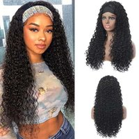 Synthetic Wigs Headband For Black Women None Lace Front Hair With Long Curly Wig 24 Inch Deep Wave