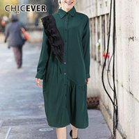 Casual Dresses CHICEVER Patchwork Lace Trim For Women 2021 Lapel Collar Long Sleeve Loose Midi Dress Womens Clothing Fashion Summer