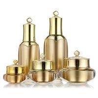 5 größe leere cremeflasche krone form kunststoff nachfüllbar creme reisen lotion make-up container kosmetische topf jar m02399 t6i2