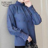 Women's Blouses & Shirts 2021 Bead Chiffon Women Lace Tops Long-sleeved Bottom Fashion Blouse Loose Lantern Sleeve 1641 50