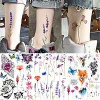 Knöchel Flora Cherry Lavender Flash Gefälschte Wasserdichte Tätowierungen Temporäre Frauen Arm Brust Tattoo Aufkleber Körperkunst Benutzerdefinierte Tatoos