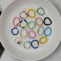 حلقة اليدوية على شكل الأرز الخرز الخرز الوترية الخرز حلقة مختلطة اللون صغير زهرة اللون المنسوجة