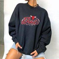 Damen Hoodies Sweatshirts Hip Hop Black Letter Print CrewNeck Sweatshirt Frauen Casual Brand Design Plus Size Tops Sport Freund Englaus