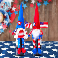 Patriotic Independence Day Gnome Doll Wine Bottle Cover Face...