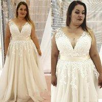 Plus Size A Line Wedding Dress Sheer V Neck Lace Appliques Bridal Gowns Elegant Bride vestido de novia