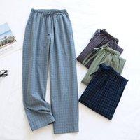 Women's Sleepwear Spring Washed Couple Cotton Sleep Bottoms Loose Lovers Pijamas Plaid Lounge Pants Elastic Waist Women Men Trousers
