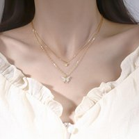 Pendant Necklaces Silver Plated Flash Diamond Butterfly Double Necklace Choker For Women Simple Design Crystal Elegant Wedding Jewelry Gifts