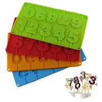0-9 Números Lollipop Molde de silicona DIY Bakeware Silicone 3D Hecho a mano Sticker Sticks Lolly Chocolate Molde JKXB2103
