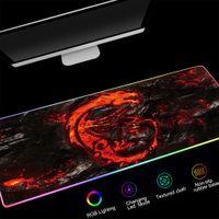 900x400 ملليمتر rgb الألعاب ماوس الوسادة كبيرة xxl أحمر اللون التنين نمط أدى الإضاءة ماوس الفأر ألعاب الكمبيوتر مكتب حصيرة سادة المضادة للانزلاق
