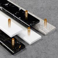 Semplice linea di battiscopa in marmo Soggiorno bianco Baseboard nero All-in-one piastrelle di pietra laterale francese TZ