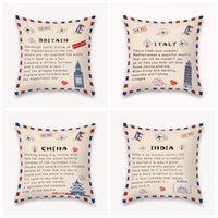DIY Pillow Case National State Envelope Pillowcase Printed SHORT FLOSS Pillowcase Retro Throw Pillow Case Home Pillow Covers