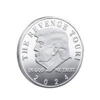 2024 Trump Commemorative Coin American US Elect Election Collezione Placcato oro Doppia moneta da ferro colorata GRATIS DHL